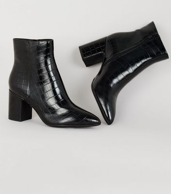 Black Faux Croc Ankle Boots | New Look