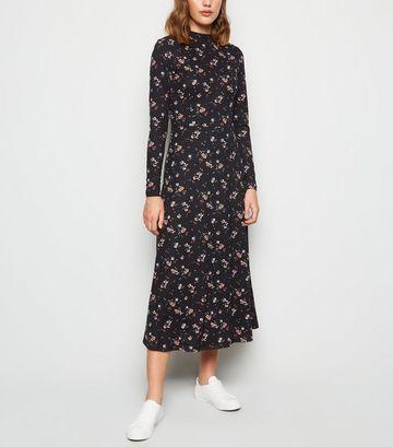 Black Floral Soft Touch Midi Dress