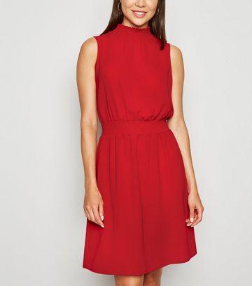 Red Shirred High Neck Dress