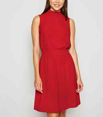 Red Shirred High Neck Dress