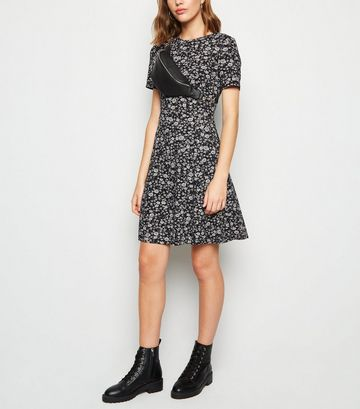 Black Floral Soft Touch Mini Dress