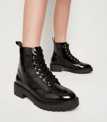 effet Wishlist froissé à de Wishlist Bottes noires vernies Ajouter Supprimer lacets Girls la la à OPkiTZwXul