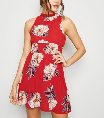 Cameo Rose Red Floral Shirred Waist Dress