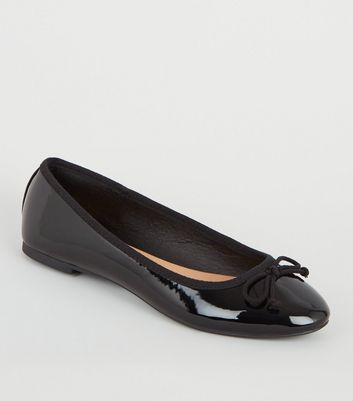 Black Patent Bow Front Ballet Pumps by New Look