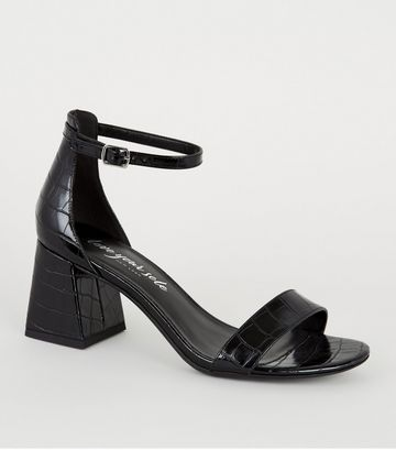 Black Faux Croc Flared Heel Sandals