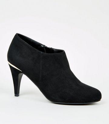 Black Suedette Metal Trim Shoe Boots