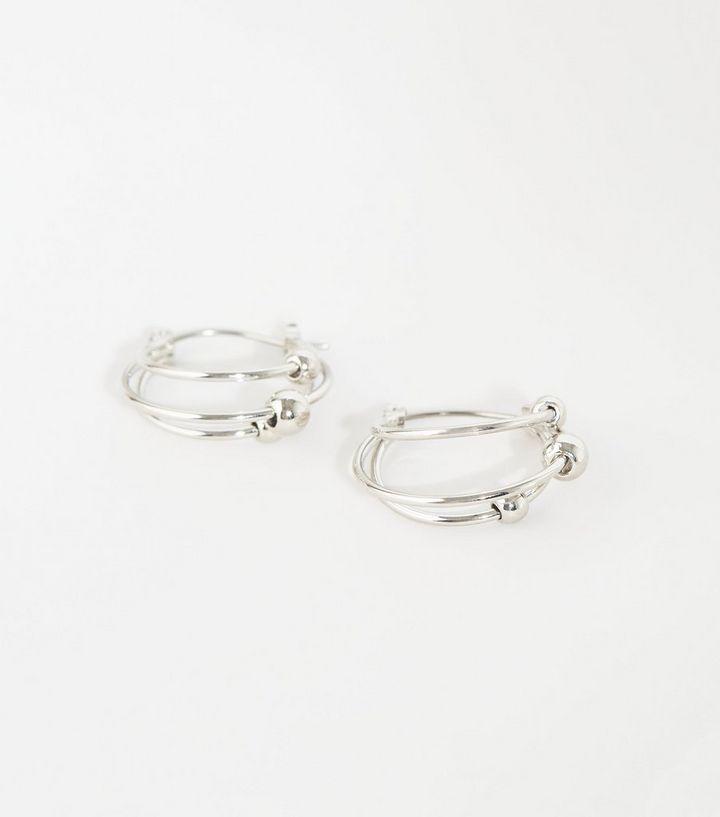 157fb249c Silver Mini Bead Triple Hoop Earrings   New Look