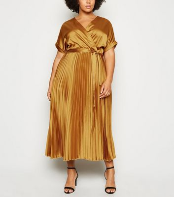 Curves Mustard Satin Pleated Midi Dress