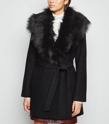 Black Faux Fur Collar Belted Coat
