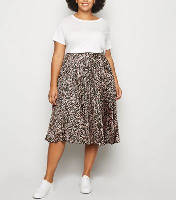 Curves Black Leopard Print Pleated Midi Skirt