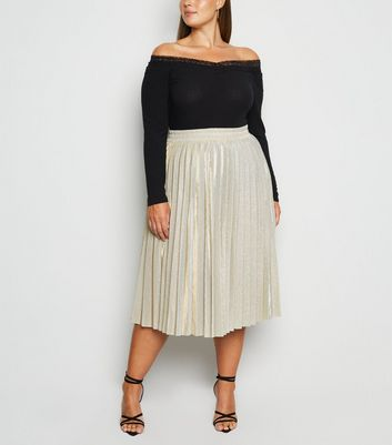 Curves Gold Glitter Pleated Midi Skirt