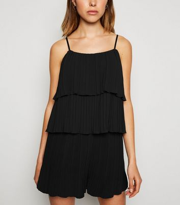 Black Pleated Tiered Cami
