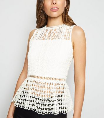 White Crochet Peplum Top