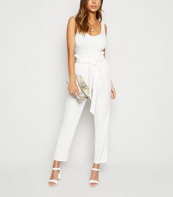 Cream Paperbag High Waist Tapered Trousers
