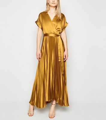 Tall Mustard Satin Pleated Midi Dress