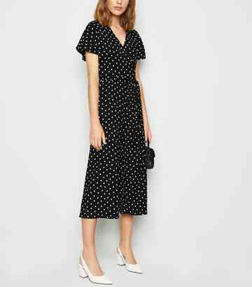 Black Spot Crinkle Wrap Jumpsuit