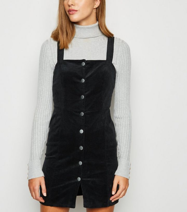 buying new undefeated x Sales promotion Black Stretch Corduroy Button Pinafore Dress Add to Saved Items Remove from  Saved Items