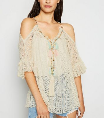 Cameo Rose Stone Tassel Crochet Top by New Look