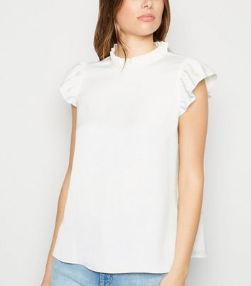 Off White Frill Trim Sleeveless Blouse
