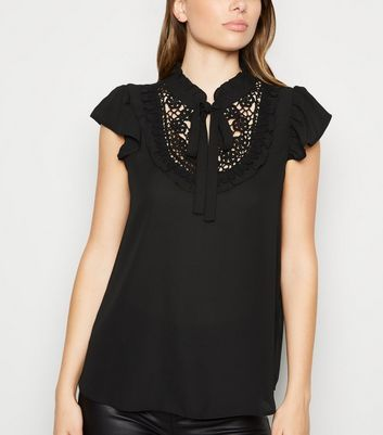 Black Crochet Tie Neck Frill Blouse