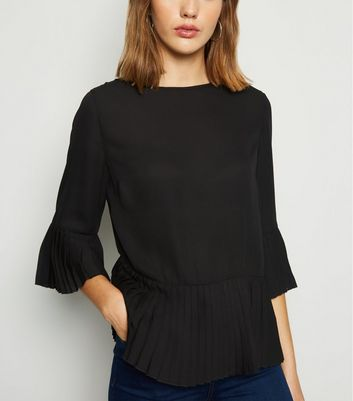 Black Pleated Trim Blouse