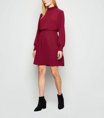 Burgundy Shirred Neck Mini Dress