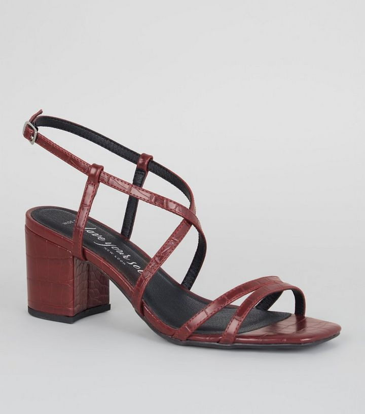 96eb41ece69 Wide Fit Burgundy Faux Croc Strappy Sandals Add to Saved Items Remove from  Saved Items