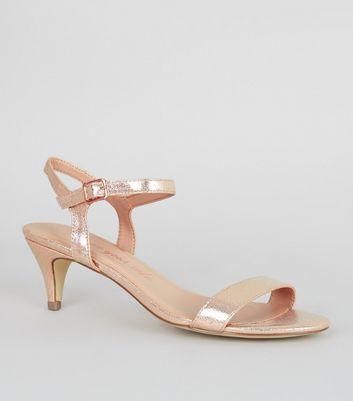 Wide Fit Rose Gold Kitten Heel Sandals