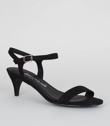 Wide Fit Black Suedette Kitten Heel