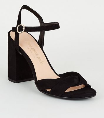 Wide Fit Black Strap Wrap Block Heels
