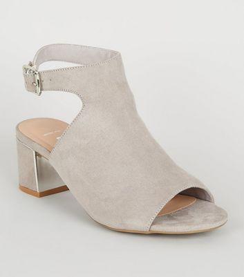 Wide Fit Grey Suedette Block Heels