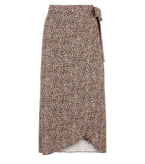 d54b369c4 Brown Leopard Print Wrap Midi Skirt