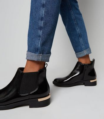 Girls Black Patent Chelsea Boots   New Look