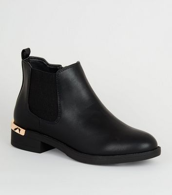 Girls Black Leather-Look Chelsea Boots