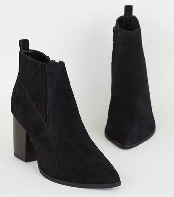 Wide Fit Black Suede Pointed Block Heel