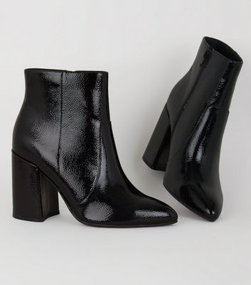 Wide Fit Black Crinkle Patent Ankle