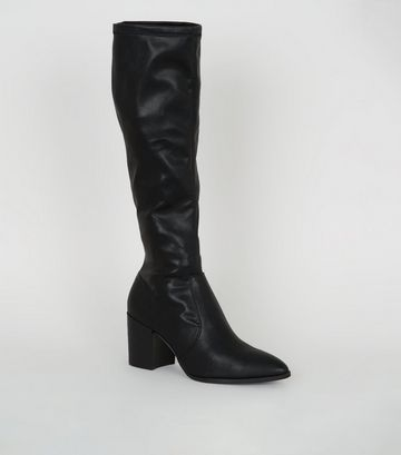 Black Leather-Look Knee High Heeled Boots