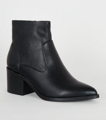 Black Leather-Look Pointed Ankle Boots