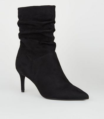 Black Suedette Pointed Slouch Boots