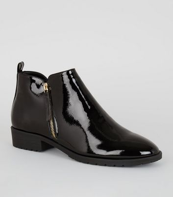 Black Patent Zip Side Flat Ankle Boots