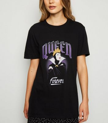 Black Disney Queen Forever Slogan T-Shirt
