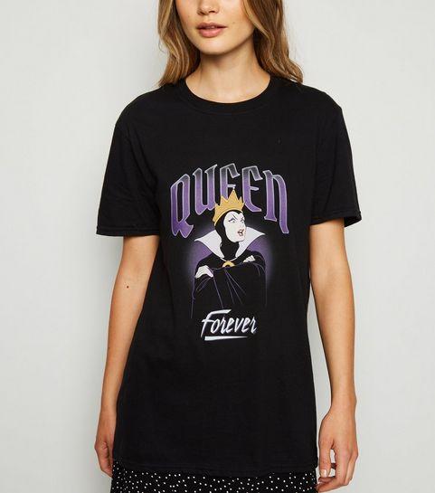 881309dfdb25 ... Black Disney Queen Forever Slogan T-Shirt ...