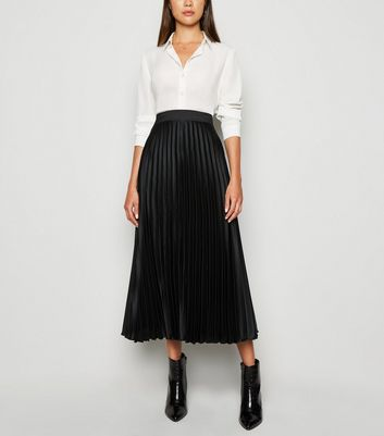 Black Pleated Satin Midi Skirt