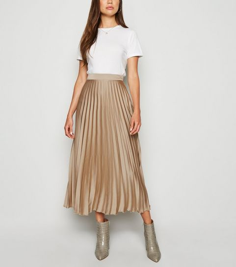 403cf397cfe163 ... Camel Pleated Satin Midi Skirt ...