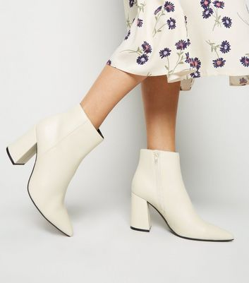 Off White Pointed Ankle Boots | New Look