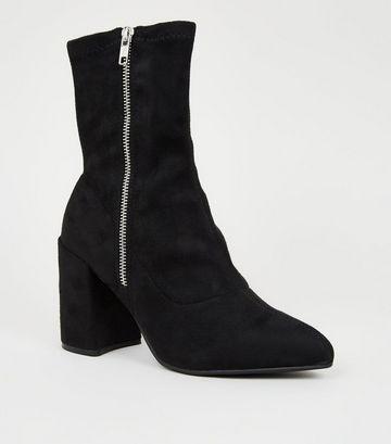 Black Suedette Flared Block Heel Sock Boots