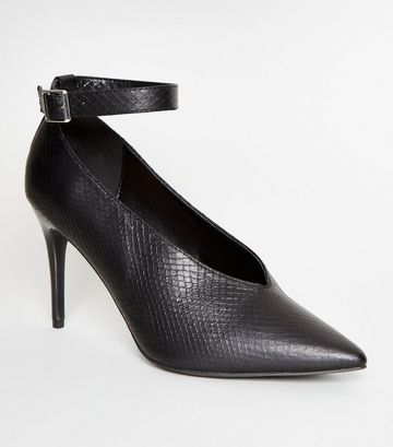 Black Faux Snake Stiletto Heels