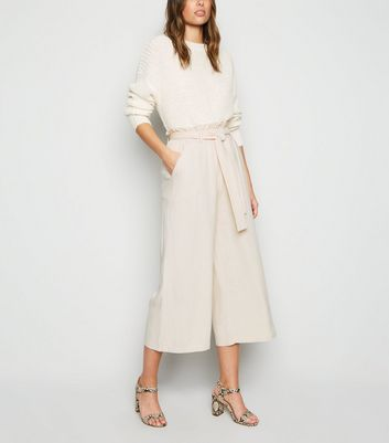 Off White Linen Look Paperbag Trousers