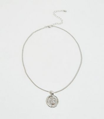 Silver Embossed Coin Pendant Necklace