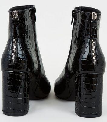 Black Patent Faux Croc Flared Heel